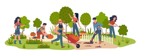 People in garden. Agricultural workers doing farming job harvesting with garden tools. Collecting fruits, watering vegetables vector seasonal work background