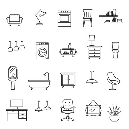 Line furniture. Living room interior design icons, sofa and table, armchair and washer, sink and lamp, desk and oven trendy vector symbol set Illusztráció