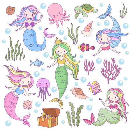 Cute mermaids. Adorable fairytale underwater princesses mythological sea creatures. Fishes, turtle and treasure, octopus vector game mythology female characters