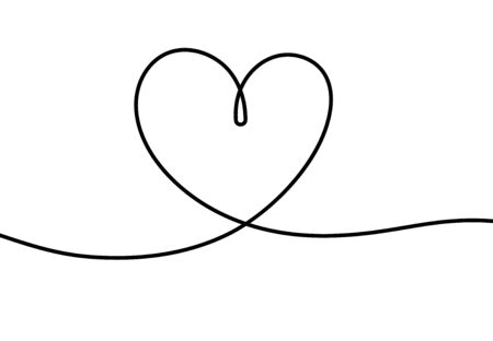 One line heart. Romantic scribble hand drawn illustration for valentines day, cute tattoo with continuous line of heart shape vector decoration drawing concept Ilustracja