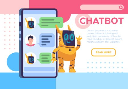 Chatbot landing page. Online talking with helping chatbots. Phone robot answering assistant. Messaging talk or discussion, feedback vector technology concept