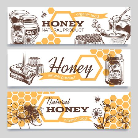Honey banners. Hand drawn engraved honeycomb, bee and hive honeyed flower, healthy natural sweet food vintage advertising or template package design vector set