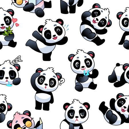 Panda seamless pattern. Cute little bamboo bears, funny china animals with different gestures, kids wallpaper art design. Print of wrapping paper or cloth vector texture