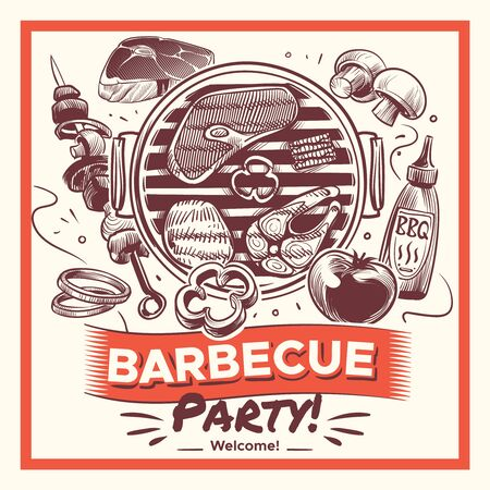 Sketch bbq. Hand drawn barbecue grilled food, ribs and sausages, chicken and steaks, fish and vegetables. Vintage summer traditional outdoor picnic poster vector background