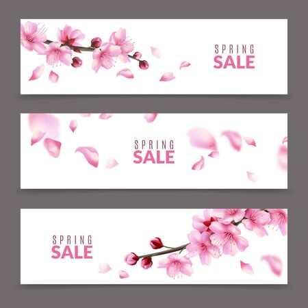 Sakura banners. Spring japanese cherry flower blossom and branches, falling pink sakura petals, springtime april sale floral banner vector romantic beautiful set