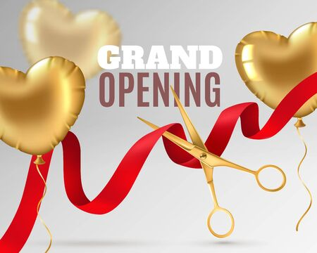 Grand opening. Luxury festive invitation, scissors cut red silk ribbon, ceremony opening banner design or promotion flyer vector launching event 3d background