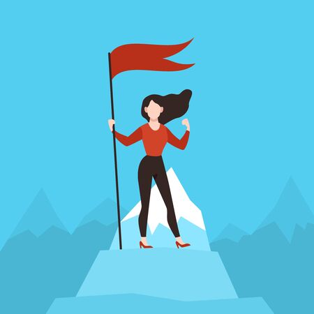 Woman with red flag on peak. Business woman on mountain top. Financial success, achievement goal, career growth successful manager and successfully idea vector concept