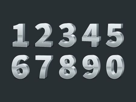 Silver 3d numbers. Realistic shiny metallic number symbols with shadows, creative chrome or platinum digits, credit cards font, typographic vector set