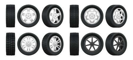Realistic tires. 3d auto tyres and alloy rims, car wheels with different tread patterns from side and front views, auto technology service isolated vector set