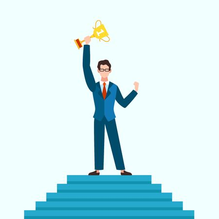 Winner concept. Businessman on podium with prize of best result, entrepreneur with trophy cup. Success business, career growth and happy finish of competition vector background Illusztráció