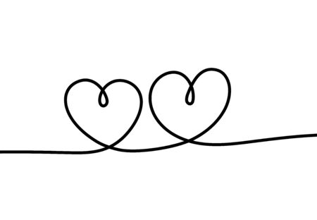 Two hearts. Romantic continuous one line drawing connecting two hearts, love valentine sign, tattoo art minimalist design vector sketch concept