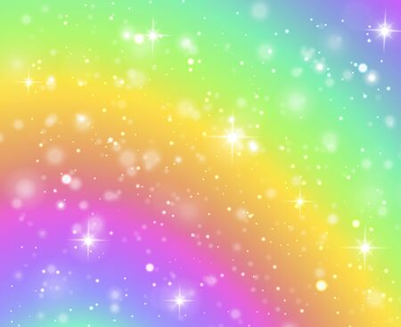Rainbow background. Fantasy unicorn galaxy, fairy stars in pastel sky and bokeh, iridescent hologram texture with glitter effect vector abstract universe concept Illusztráció