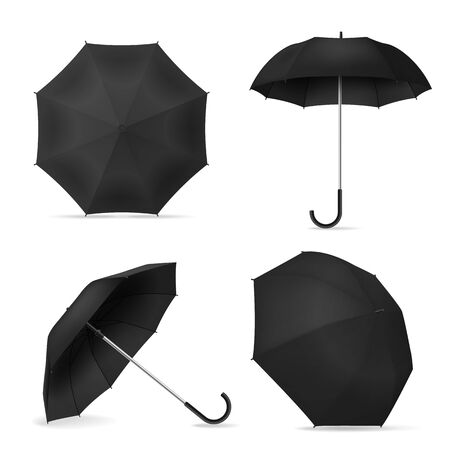 Black umbrella. Realistic blank parasols various positions open and top and front view for mockup, branding or advertising vector 3d waterproof template Illusztráció