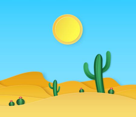 Paper desert. Summer landscape with paper cut succulents cactuses, sand dunes, sun in origami style vector exotic craft background