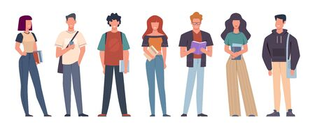 Students. Group of students in casual wear standing with books, backpacks and smartphones, education in college, university vector studying characters