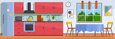 Kitchen. Interior with furniture, stove and cupboard. Fridge and table with chairs, kitchen appliances cooking culinary decor flat vector traditional design