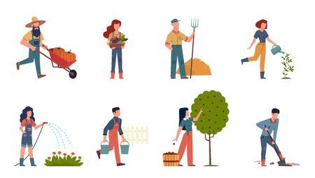 People in garden. Male and female doing farming job harvesting, planting and watering using gardening tools, organic plant products vector outdoor set