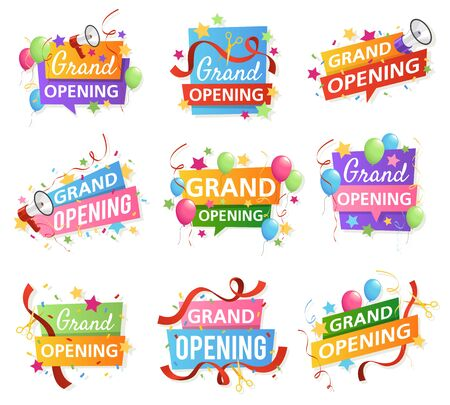 Grand opening. Festive event ceremony opening invitation, promo banner elements. Flyer with ribbon, megaphone and scissors vector celebrating party labels Illusztráció