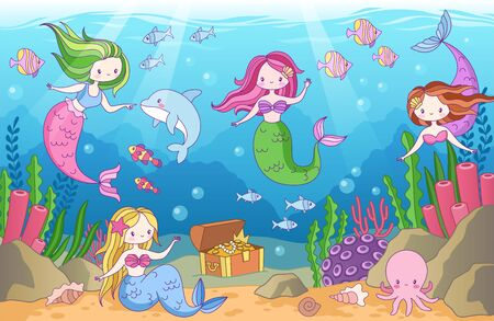 Underwater with mermaids. Seabed with mythical princesses and sea creatures, seaweeds and seashell, octopus, treasure tropical ocean cartoon vector background