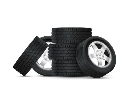 Tires heap. Complete set car tires with alloy rims, bunch new stacked auto wheels, automobile industry, realistic protector composition vector concept