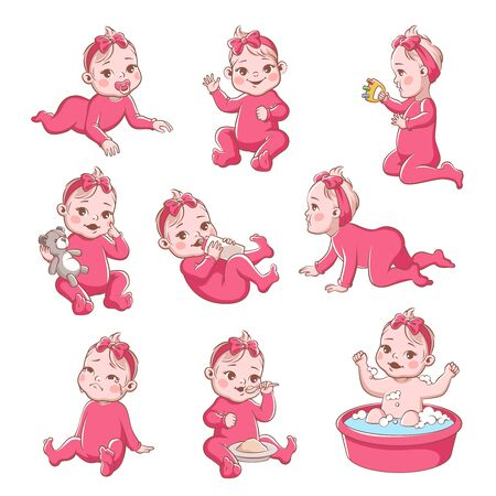 Baby girl. Cute infant with different emotions happy child, crying girls, smiling toddler sitting, playing and crawling vector newborn characters and expressions