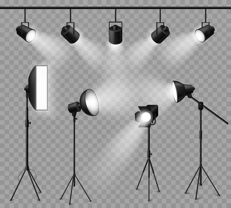 Realistic spotlight. Illuminated photo studio and stage light, floodlights and softbox set for vivid show, concert light effects. Vector projector and lamp set
