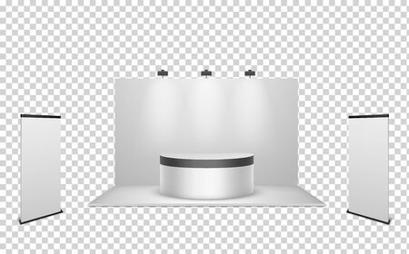 Exhibition stand. Creative white blank booth with wall lights, ad display template for commercial event, business show or fair, vector mockup for exhibit advertising of corporate