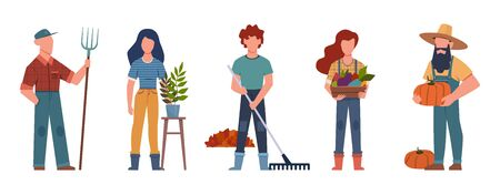 Gardener. Agricultural workers with gardening tools, seasonal job team farmers group working, isolated vector botanist characters Illusztráció