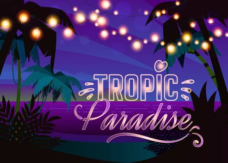 Beach party in sunset. outdoors summer festival or wedding on seaside under palm tree with hanging lights at tropical vacation vector invitation