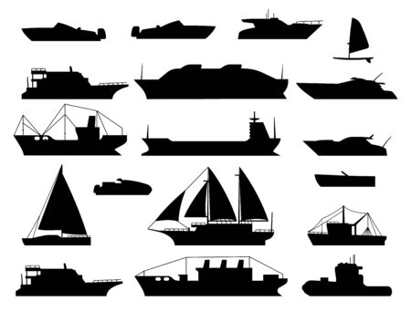 Maritime vessel silhouette. small sailboat, travel cruise boats and ship, yacht and boating transportation vessels vector black isolated icons