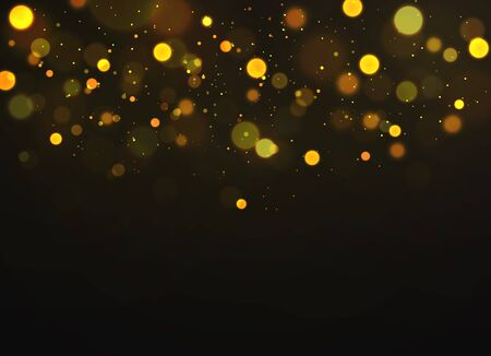 Golden bokeh. Sparkling magical dust particles defocused shimmering soft glowing, magic christmas gold abstract blurred warm lights glow bokeh vector background Ilustrace