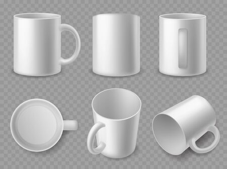 White mugs. Realistic ceramic cups of different sides, mockup for espresso and cappuccino, tea and coffee, porcelain dishes 3d isolated vector template