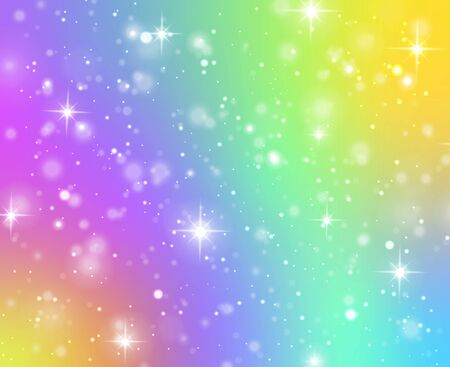 Rainbow texture. Fantasy unicorn galaxy, stars in holographic sky and bokeh, iridescent gradient hologram with glitter effect vector magical coloring pattern background Ilustrace
