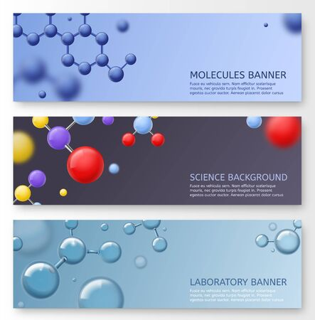 Molecules banners. Molecular structure with shining spherical particles atoms, biotechnology dna, science researching biological or chemical lab vector set
