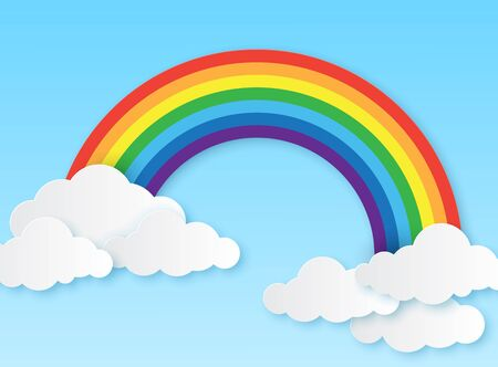 Paper rainbow. Clouds and rainbow on sky origami style, wallpaper for childrens bedroom, baby room craft design colorful vector magic kid background Vectores