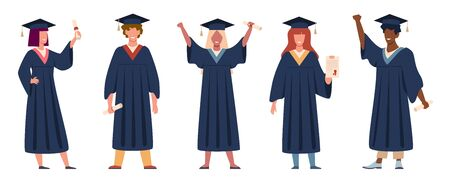 Graduated student. Happy students with diplomas wearing academic gown and graduation cap, group with education graduate certificate vector set
