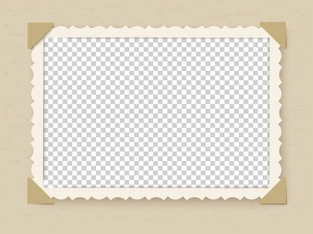 Retro photo frame. Vintage old postcard for album or picture with decoration edges vector photoframe template