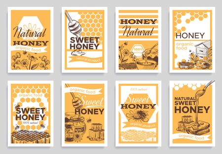 Honey flyers. Natural organic food beeswax, honeycomb and bees beehive, jar and nature honeyed flowers, beekeeping retro sketch vector banners for branding package Ilustrace