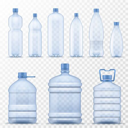 Realistic water bottle. Empty plastic containers for mineral, carbonated and soft beverages, gallon cooler jugs with lids and handle 3d vector set