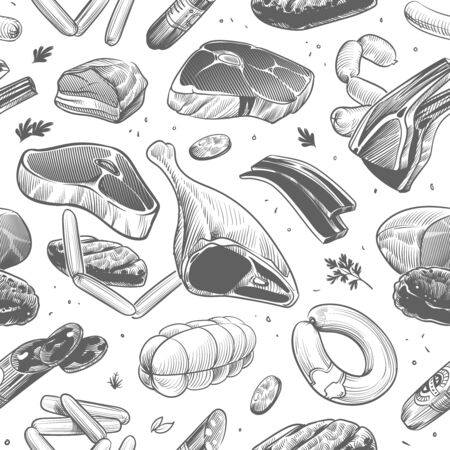 Meat seamless pattern. Hand drawn different meat products. Veal, beef steak and sausages, barbecue picnic sketch vintage vector texture for restaurant menu
