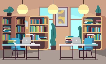 Library. Public reading room with bookcase, bookshelves, wooden desks, chairs and computers, college education, modern bookshop vector interior with floor and window