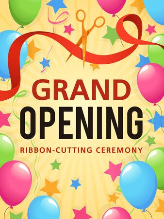 Grand opening. Presentation event, invitation card, opening store ceremony advertising flyer, promo poster or announcement certificate vector background