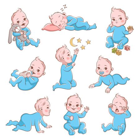 Cute baby boy. Infant in diaper with different poses and emotions happy and sad. Child playing and crying, crawling cartoon vector toddler character Ilustración de vector
