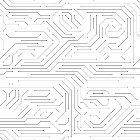 Circuit board seamless. High-tech technology electronic system pattern, digital network scheme monochrome printed modern wallpaper vector texture