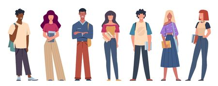 Multi ethnic students. International student society members standing together with books and bags, multicultural cartoon vector education characters
