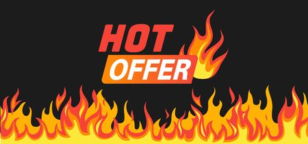 Hot offer. Burning fire and flames frame like symbol of sale with text for promo vector saling banner Ilustrace