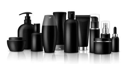 Cosmetic products. Black blank plastic containers and jar for luxury spray or cream isolated vector packaging mockup set