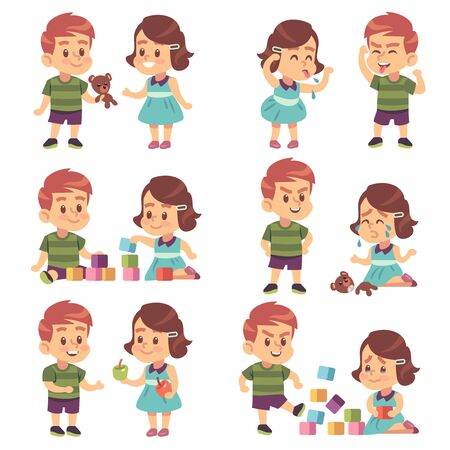 Good and bad behavior. Naughty and obedient kids, angry, aggressive bully and funny, polite manners children, cartoon vector brother and sister or best friend characters