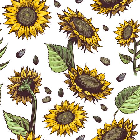 Sunflowers seamless pattern. Beautiful botanical design, floral cute fabric print repeating sunflower artistic blossom abstract decor vector textile texture