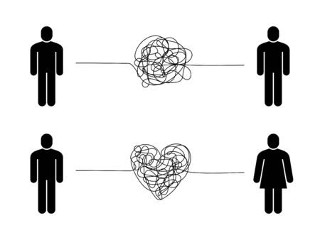 Complicated relationship. Love couple problem, tangled messy scribble connection line, unhappy people hard difficult communication, vector concept Ilustrace